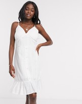 Qed London QED London cami strap broderie anglais mini dress in white