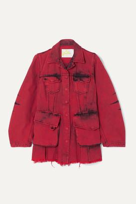 Marques Almeida Marques' Almeida - Frayed Acid-wash Denim Jacket - Red