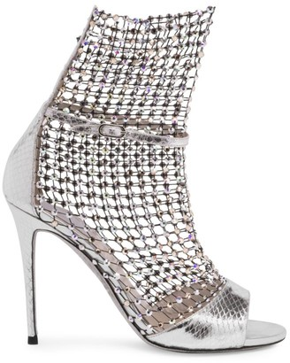 Rene Caovilla Galaxia Crystal Mesh Ayers Metallic Leather Sandals