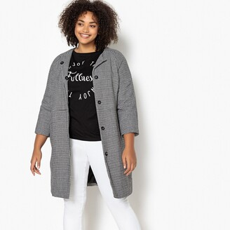 Castaluna Plus Size Houndstooth Check Coat