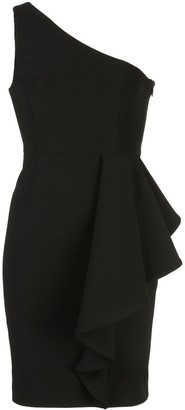 Shona Joy One-Shoulder Ruffle-Panel Mini Dress