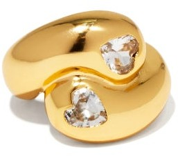 Timeless Pearly Heart-cut Crystal & Gold-plated Ring - Gold