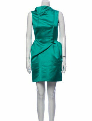 Roland Mouret Mock Neck Mini Dress Green