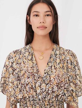 Maje Smocked lurex jacquard dress