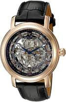 Lucien Piccard Men's LP-40036A-RG-01 Paragon Rose Gold-Tone Stainless Steel Automatic Watch with Black Leather Band