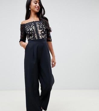 Little Mistress Petite lace applique top tailored jumpsuit in black