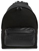 Givenchy Men's Leather Pocket Canvas Backpack - Black