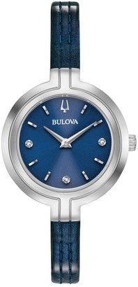 Bulova Women's 96P212 Stainless Slim Blue Diamond Accent Dial Blue Leather Strap Watch