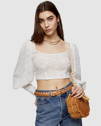 Topshop Lace Balloon Sleeve Top