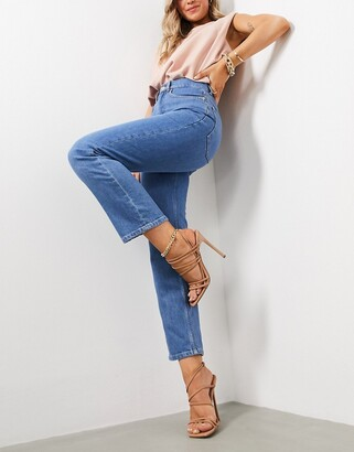 ASOS DESIGN high rise stretch 'slim' straight leg jeans in brightwash