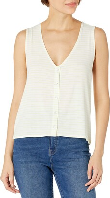 Cupcakes And Cashmere Women's Lillian Stripe Jersey Button Front Tank