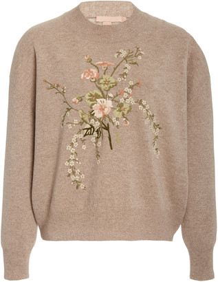 Brock Collection Floral-Embroidered Wool-Cashmere Sweater