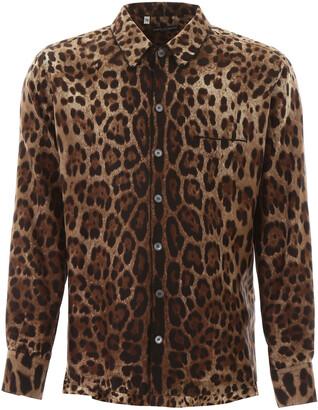 Dolce & Gabbana LEOPARD PAJAMA SHIRT 38 Brown, Black Silk