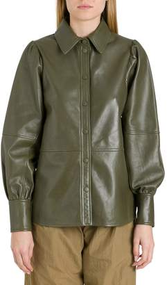 Ganni Lamb Leather Long Sleeves Shirt