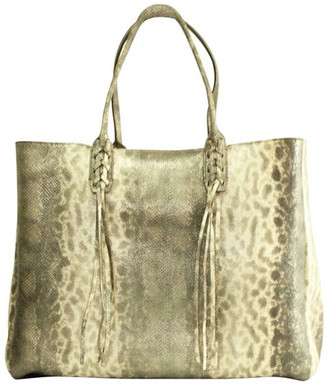 Lanvin Brown Snake Skin Tote Bag