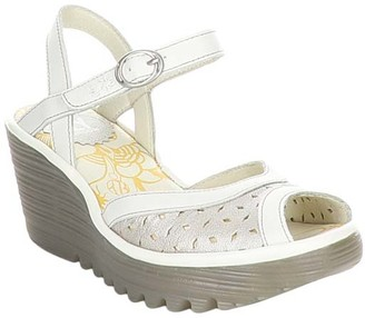 Fly London Women's Sandals 006 - Silver & Off-White Perforated Yumo Leather Sandal - Women