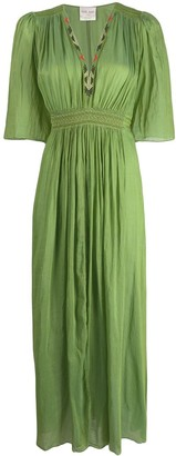 Forte Forte long pleated V-neck dress