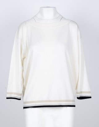 Lamberto Losani Ice Gray Cashmere, Silk and Viscose Blend Women's V-Neck Sweater