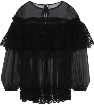 Alberta Ferretti Layered Lace-paneled Silk-chiffon Blouse