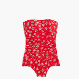 J.Crew Ruched bandeau one-piece swimsuit in falling foral print