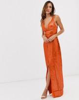 Asos Design DESIGN embellished sequin maxi dress with ladder trim