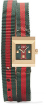 Gucci Canvas And Gold-tone Watch - Red