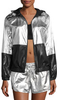 ALALA Fuel Metallic Woven Hooded Performance Jacket, Silver