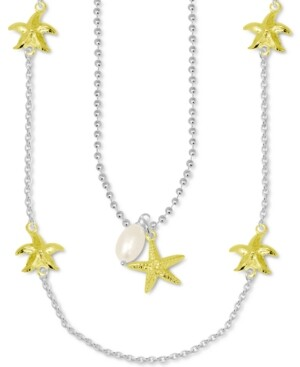 "Kona Bay Freshwater Pearl (9mm) & Starfish Layered Statement Necklace in Fine Silver-Plate & Gold-Plate, 15"" + 2"" extender"