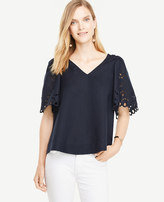 Ann Taylor Embroidered Sleeve Top