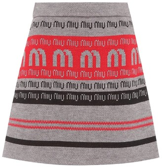 Miu Miu Logo wool-blend knitted skirt
