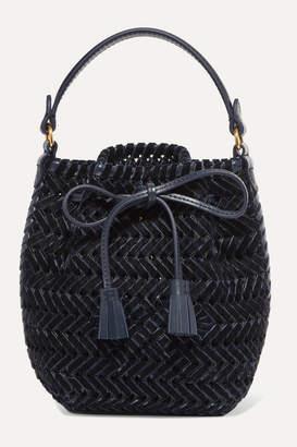Anya Hindmarch The Neeson Mini Leather-trimmed Woven Velvet Bucket Bag - Navy