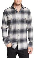 Tom Ford Exploded Plaid Flannel Sport Shirt, Gray/White