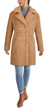 Kenneth Cole Petite Double-Breasted Faux-Fur Teddy Coat