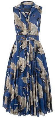 Samantha Sung Aster Sleeveless Crane-Print Belted Dress
