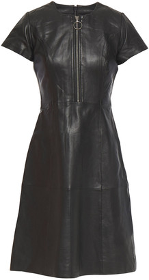 Muu Baa Muubaa Flared Zip-detailed Leather Dress