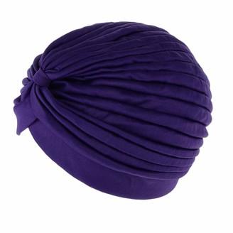 joyMerit Lady Stretchy Turban Head Wrap Chemo Bandana Hijab Pleated Indian Cap Hat - Purple as described