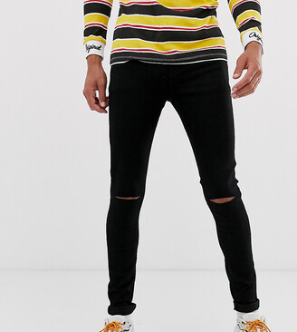 Asos Design DESIGN Tall spray on jeans in power stretch denim in black with knee rip
