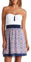 Charlotte Russe Strapless Color Block Tribal Print Dress