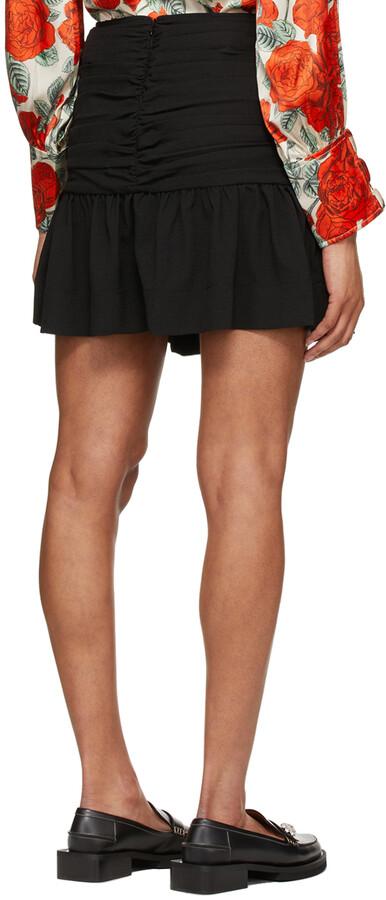Thumbnail for your product : Ganni Black Heavy Crepe Miniskirt