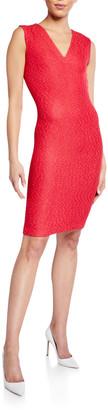 St. John V-Neck Refined Knit Bodycon Dress