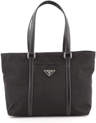 Prada Front Pocket Zip Tote Tessuto with Leather Medium