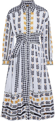 Dodo Bar Or Constanza Belted Gingham Voile-paneled Cotton-jacquard Dress