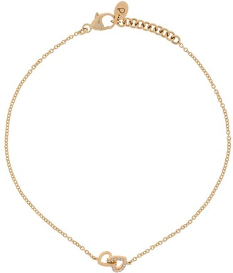 Loquet 14K yellow gold diamond linked-heart bracelet