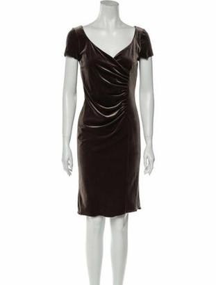 Armani Collezioni Square Neckline Knee-Length Dress Brown
