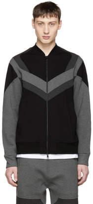 Neil Barrett Black and Grey Modernist Bomber Jacket