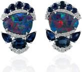 Artisan Opal Doublet Stud Earrings 18Kt White Gold Diamond Blue Sapphire Gemstone Jewelry