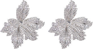 Eye Candy Los Angeles Eye Candy La Silver Leaf Cz Crystal Stud Earrings