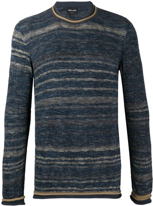 Giorgio Armani Crew Neck Striped Sweater