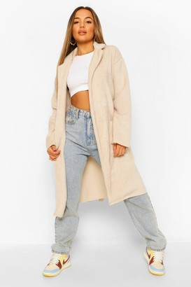 boohoo Petite Belted Longline Brushed Wool Look Coat