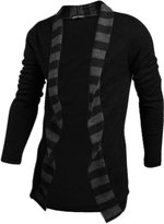 uxcell® Men Long Sleeves Open Front Shawl Collar Stripes Cardigan M